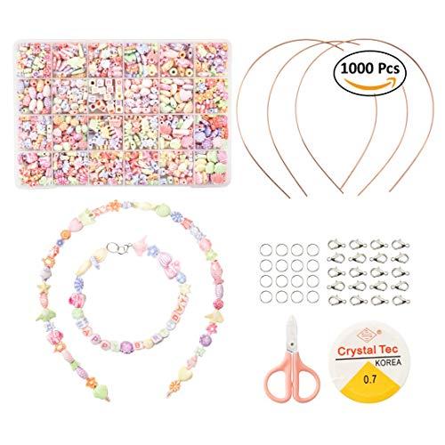 Moji Toys Schmuckperlen Anhangen Set in Verschiedenen Formen für Ketten Schmuckherstellung Bastel n - Beinhaltet 1000 Perlen in 24 verschiedenen Formen notwendige Zubehör.