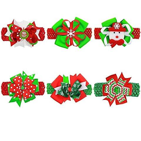txian 6Weihnachten bowknot Haar Zubehör Schneemänner Haarband Stirnband Festival weichem Band und elastischem Weihnachtsschmuck für Baby Kleinkind Infant
