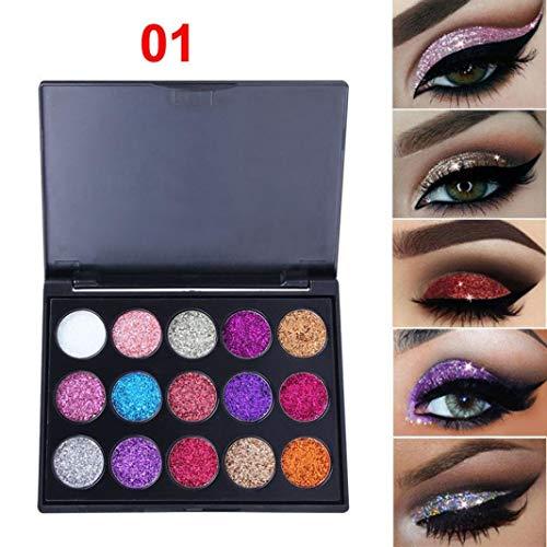 Palette Ombretto, 15 Colori Opaco Ombretto Polvere Colori in Shimmer Glitter Impermeabile, Viso Labbra Arte per Festa Trucco Attrezzi (B) - A, one size