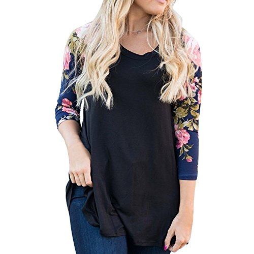 UFACE Damen Bluse Plus Größen Oberseiten Lange Hülsen Rundhals Beiläufige Blumendruck Hemd Bluse Tops (Drucken Bluse Bauer)