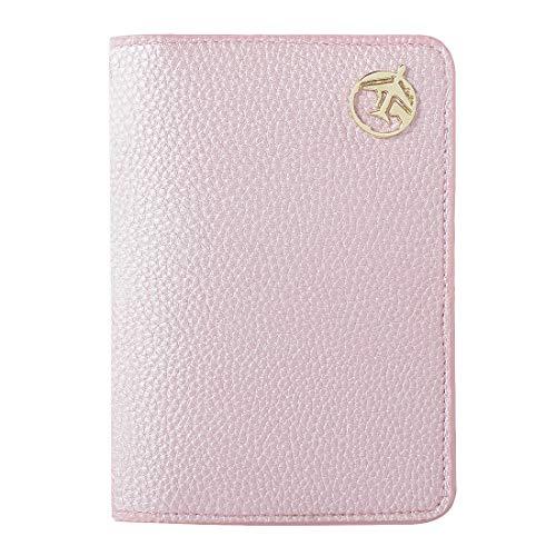 Passaporto portafoglio in pelle da viaggio, lychii porta-passaporto per passaporti, carte d'identità, carte di credito, biglietti aerei, familiari passaporti per uomini e donne (rosa)