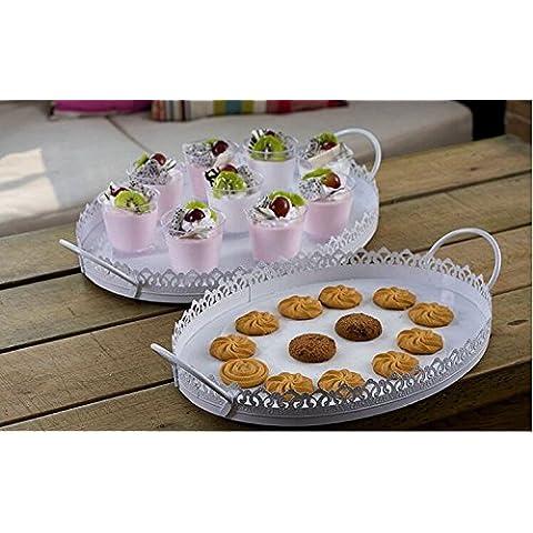 ZXR/ Vassoio di frutta/torta ovale in ferro battuto pizzo nozze compleanno dessert/snack/attrezzature