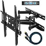"Cheetah Mounts APDAM3B Dual Articulating Arm (14? Extension) TV Wall Mount Bracket for 20-55 inch LCD, LED and Plasma Flat Screen TVs up to VESA 400x400 and 115lbs, with Tilt, Swivel, and Rotation Adjustment, Including a Twisted Veins 10' Braided High Speed with Ethernet HDMI Cable and a 6"" 3-Axis Magnetic Bubble Level"