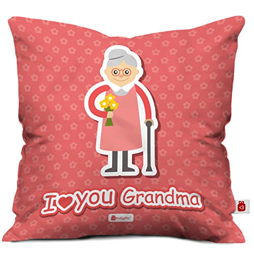 Indigifts Grandparents Special I Love You Grandma Pink Cushion Cover 12x12 inch with Filler - Gift for Grandmother-Grandma-Dadi-Birthday-Anniversary