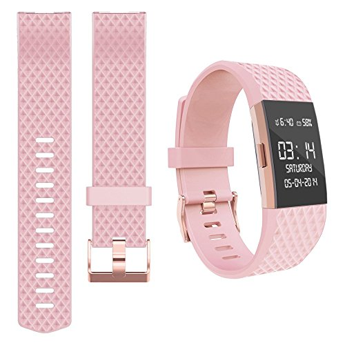 Wearlizer For Fitbit Charge 2 Wrist Strap Silicone Replacement Sport Band For Fitbit Charge 2 Fitness Special Edition Lavender Rose Gold