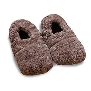 Monsterzeug Beheizbare Hausschuhe mit Leinsamen, Aufwärmbare Flausch-Pantoffeln, beheizbare Mikrowellensocken, Wärmepantoffeln Einheitsgröße, Fußwärmer, Braun