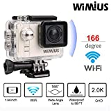 WIMIUS A1 Action Kamera Full HD Ambarella Actioncam Sport DV Kamera WIFI Action Camera A7LS75 Kamera 60M wasserdicht 16MP Helmkamera Silber
