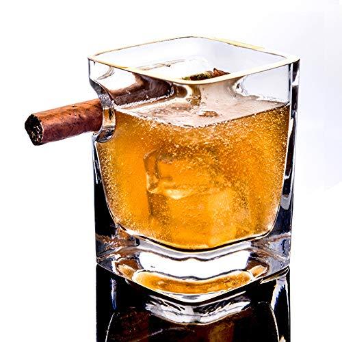 JAYLONG Whiskey-Glas mit Zigarrenhalter, 2 Pcs Golden Frame 320ml Handwerkliches Square Beer Scotch Brandy Red Wine Cups, für Cigar Cigarette Lovers, Home and Bar,Goldenframex2