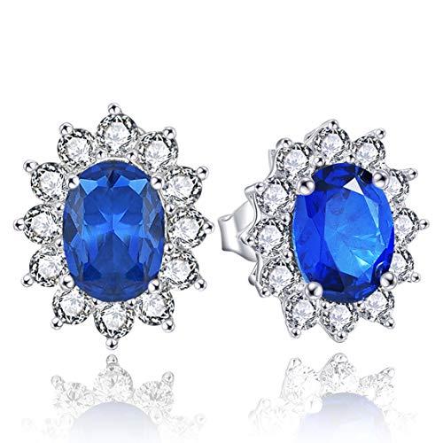 Yl orecchini argento 925 6mm * 8mm zirconia cubica blu, orecchini donna/uomo