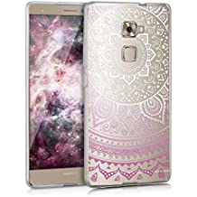 kwmobile Funda para Huawei Mate S - Case para móvil en TPU silicona - Cover trasero Diseño Sol hindú en violeta blanco transparente