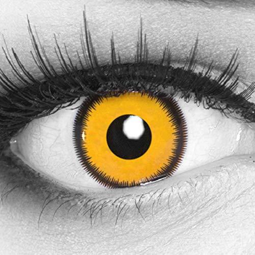 Funnylens 1 Paar farbige gelbe schwarze Crazy Fun Jahres Kontaktlinsen Lunatic Sun mit Rand und gratis Linsenbehälter. Perfekt zu Fasching, Karneval und Fastnacht.