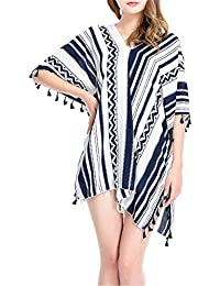 Robe Plage Femme en Mousseline avec Frange-Coupes Asymétriques- Bikini Cover Up Maillot De Bain Unie