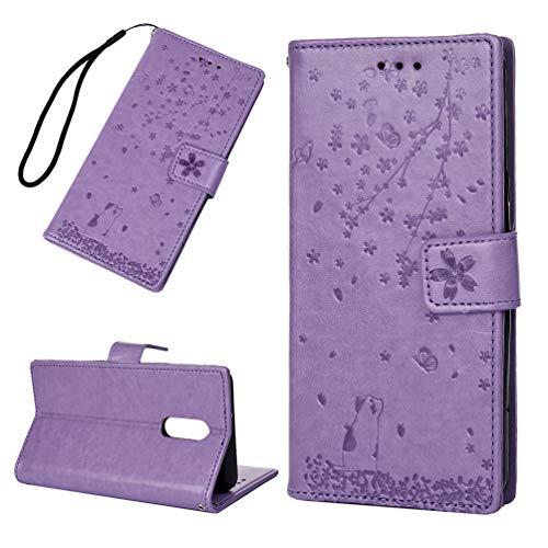 TASoker Handyhülle für LG Stylo 5 Hülle Leder Cover Case Schutzhülle Schutz Etui Brieftasche Flipcover Tasche mit Ständer Magnetverschluss und Innere Silikon Hülle Hellviolett
