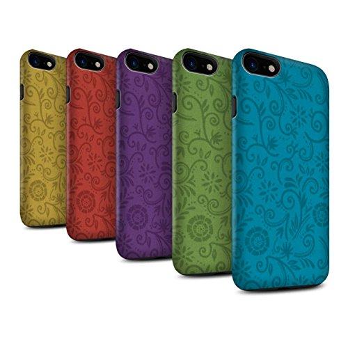 STUFF4 Matte Harten Stoßfest Hülle / Case für Apple iPhone 8 / Lila Blume Muster / Floral Strudel-Muster Kollektion Pack (5 Pcs)