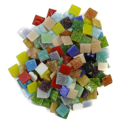 Gläserne Glas Fliesen 1cm x 1cm x 4mm für Mosaike Art & Craft-500Gramm Pack (ca. 750lose Fliesen) (Allsorts Mix)