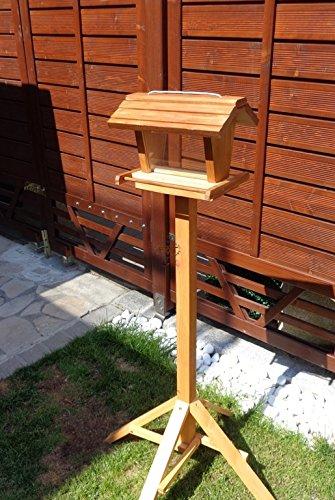 vogelhaus mit ständer BEL-X-VOFU2G-MS-dbraun002 Großes PREMIUM Vogelhaus mit ständer + 3D-Riesensilo / Futterschacht Futterautomat MASSIV + WETTERFEST, QUALITÄTS-SCHREINERARBEIT-aus 100% Vollholz, Holz Futterhaus für Vögel, MIT FUTTERSCHACHT Futtervorrat, Vogelfutter-Station Farbe braun dunkelbraun behandelt / lasiert schokobraun rustikal klassisch, Ausführung Naturholz, mit KLARSICHT-Scheibe zur Füllstandkontrolle - 2