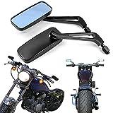 Nero 8mm 10mm Specchietti Retrovisori Laterali Moto Custom Specchio Posteriore Rettangolo per Street Bikes Sports Bikes Chopper Cruiser Scooter