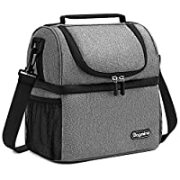 Bagmine Insulated Lunch Bag Soft Cooler Bag Double Deck With Adjustable Shoulder Strap For Carrying Lunch Box Adult Kids Camping Fishing Barbecue Grey