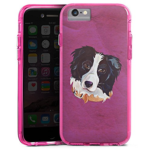Apple iPhone 7 Bumper Hülle Bumper Case Glitzer Hülle Border Collie Hund Dog Bumper Case transparent pink