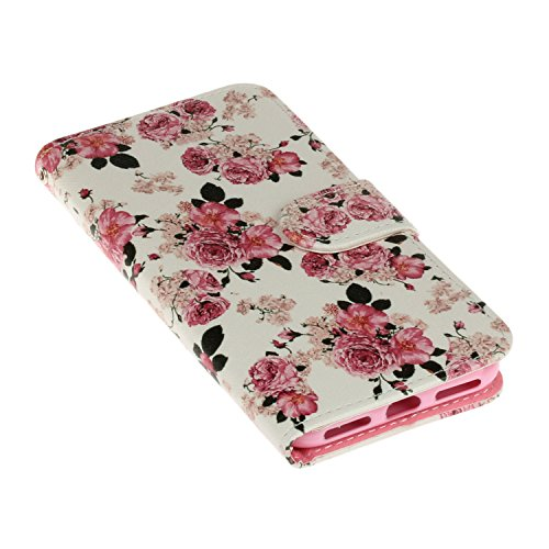 iPhone 7 Handytasche,iPhone 7 Hülle,iPhone 7 Case- Felfy Slim Full Body Schön Farbe Muster Ständer mit Kreditkarte Slots Magnetic Button PU Leder Wallet Case Cover Etui Holster Brieftasche Mode Hülle  Rosa Blumen