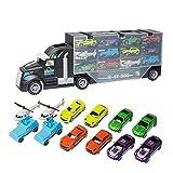 AOLVO Autotransporter Kleinkinder, Autotransporter Spielzeug, Mega-Transporter, LKW mit flachem Bett für Kinder (inkl. 10 Autos aus Metalllegierung, 2 Hubschrauber)
