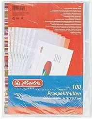 Herlitz 5814108 Prospekthülle A4 genarbt 100er Packung mit Lochrandverstärkung