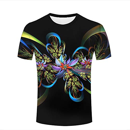 qianyi maoyi Mens Womens 3D Printed Casual T-Shirts Abstract Flower Black Background Crewneck Short Sleeve Fashion Couple Tees XL