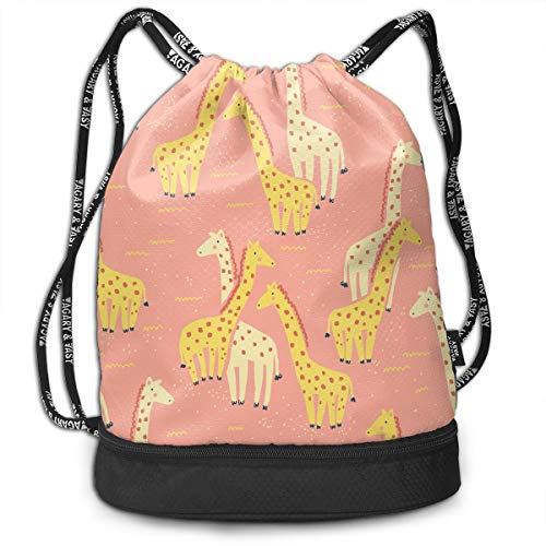 Rtytgfdw Multi-Functional Unisex Pink and Yellow Giraffes Travel Backpack