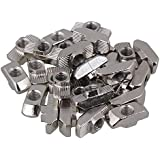 cnbtr semicircular para rollo de acero de carbono Plata estándar europeo 40Series Aluminio ranura en T deslizante ranura Tuerca 30unidades, Plateado