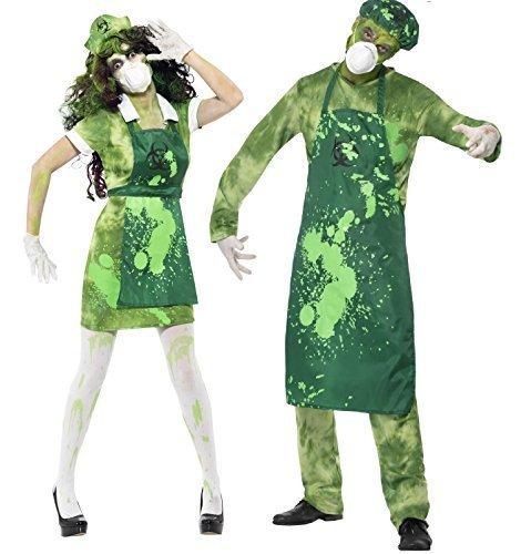 Paar Herren Damen Zombie Bio-Gefahr Toxisch Waste Halloween Kostüme Outfits - Damen 40-42 & Herren (Bio Zombie Kostüm)