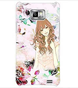 PrintDhaba Sketch Girl D-1021 Back Case Cover for SAMSUNG GALAXY S2 (Multi-Coloured)