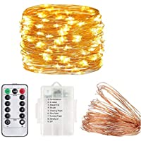 Fairy Lights String,100LEDs/10M 8 Modes Fairy String Lights Copper Wire Lights with Remote Timer Twinkle Starry String Lights 8 Modes Moon Lights Firefly Lights(Warm White) (1Pack)