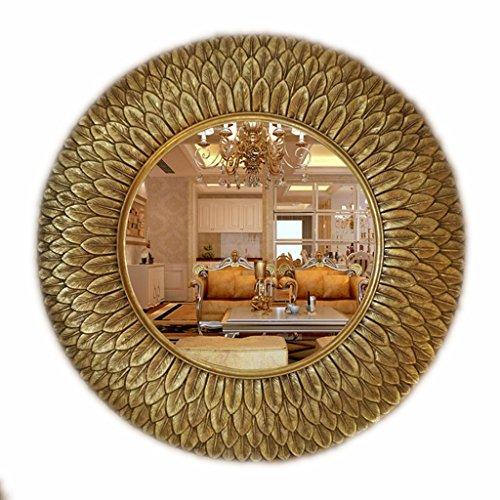 Bathroom mirror-Jack Badezimmer-Spiegel-europäische Retro- runde Feder-Form-Wand-hängender dekorativer Spiegel-Make-upspiegel-Haus (Farbe : Gold)