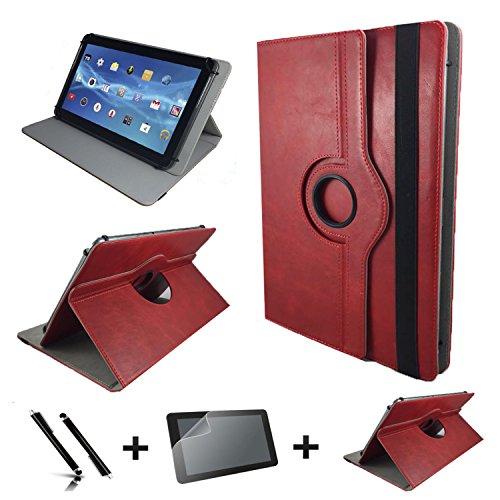 3in1 Starter Set für Lenovo IdeaPad Miix 310 10ICR Echt Leder Tablet Hülle + Schutzfolie + Touch Pen - 10.1 Zoll Leder Rot 360 3in1