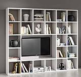 Legno&Design Easyfurn Cadre Porte TV Bibliothèque séjour Blanc frassinato 25éléments