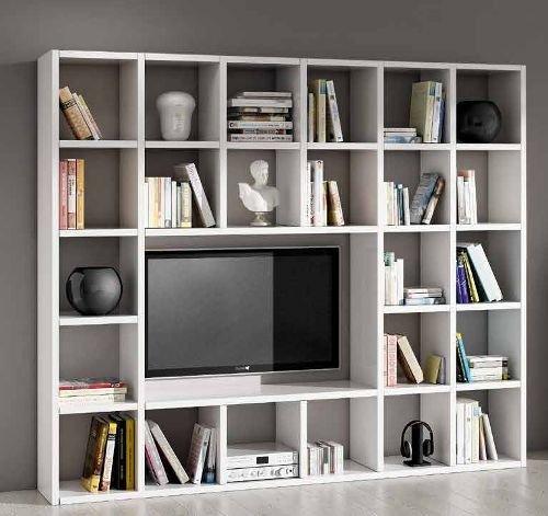 Legno&Design Easyfurn Cadre Porte TV Bibliothèque séjour Blanc frassinato 25 éléments