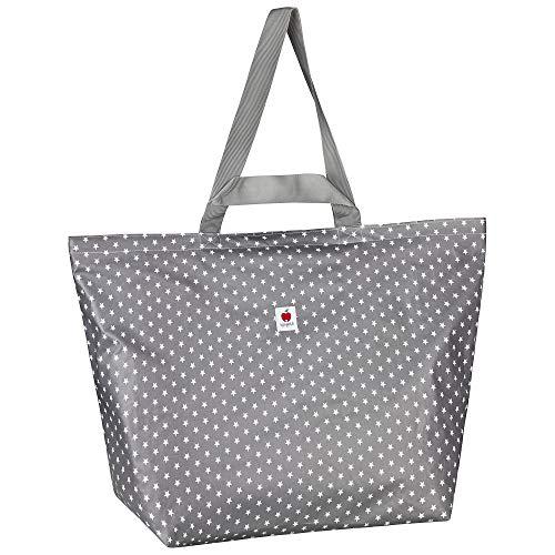 Große Badetasche, Strandtasche, Schwimmtasche, Shopper in Größe XXL, 60l, aus wasserabweisendem Wachstuch für die ganze Familie - Grau Sterne weiß