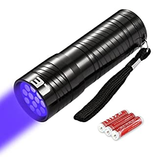 LE UV Torch, 12 LED 395nm Ultra Violet Flashlight, Black light Detector for Pet Urine, Stain, Bed Bug on Clothes, Carpet or Rugs, 3 AAA Batteries Included