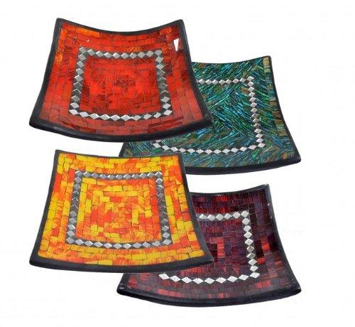 Kunsthandwerk Asien Glas-Mosaik-Schale mit hintermalten Glassteinen belegt - Dekoschale 20 cm, Farbe:blau/grün -