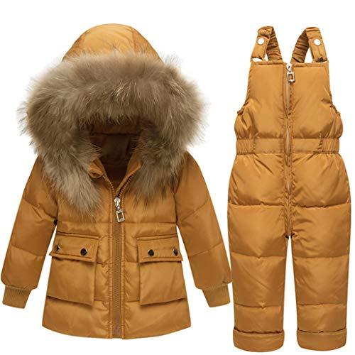 Baby Kinder Set Daunenjacke mit Kaputze Bekleidungsset Baby Kinder Junge Mädchen Verdickte Winterjacke + Winterhose Kleinkind Daunenhose Jacket Mantel (gelb, Höhe 80CM-85CM (Etikett 80))