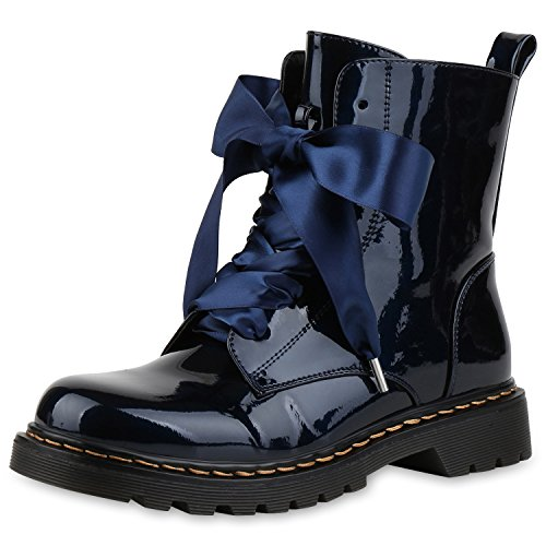 napoli-fashion Damen Stiefeletten Worker Boots Lack Profilsohle Boots Schuhe Jennika Dunkelblau Metallic