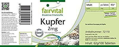 Kupfer 2 mg, bioverfügbar, Aminosäurechelat, 100 vegetarische Tabletten