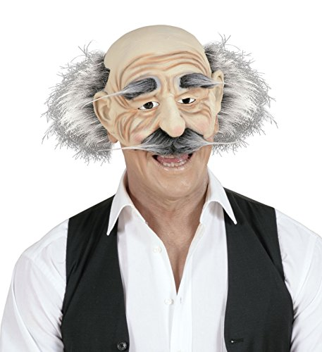 Alter Mann Opa Opamaske Franzose Maske mit Haar und Schnäutzer