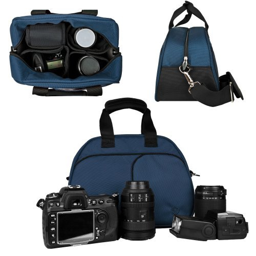 Vangoddy Mythra Blue Medium Entry Level Canon DSLR & SLR Camera Bag For: Canon EOS Rebel T3, T3i, 12.2 MP, 18 MP, Canon EOS Rebel T2i 18 MP CMOS APS-C, Canon EOS Rebel T1i 15.1 MP CMOS, Canon EOS 60D CMOS, Canon EOS 7D CMOS, Canon EOS 5D Mark II (Mark 2) Full Frame CMOS, Canon Rebel XS, Body Only, Or with Lens (Canon EF-S 18-55mm f/3.5-5.6 IS Lens, Canon EF 75-300mm f/4-5.6 III Telephoto Zoom Lens, Canon EF 85mm f1.2L II USM Lens, 18-55mm Standard Lens, EF-S 18-135mm IS UD Standard Zoom Lens)  available at amazon for Rs.6092
