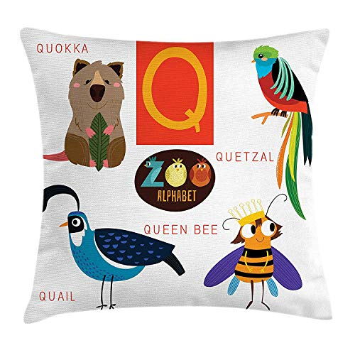 Jolly2T ABC Kids Throw Pillow Cushion Cover, Study Q Sign with Nature Life Queen Bee Quetzal Quokka Quail Pet Illustration, Decorative Square Accent Pillow Case, 18 X 18 inches, Multicolor
