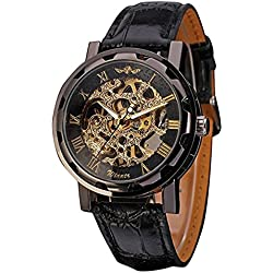 Men's Black Skeleton Dial Hand-Wind Up Leather Mechanical Wrist Watch