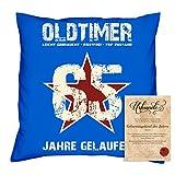 Geburtstagsgeschenk Männer Frauen : Oldtimer 65 : Kissen + Urkunde Geschenkidee Papa Mama Opa Oma Jahrgang 1953 Farbe:royal-blau