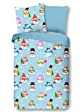 Aminata Kids - Kinder-Biber-Bettwäsche 135-x-200 cm Schnee-Mann-Motiv Schneemänner 100-% Baumwolle hell-blau-e bunt-e