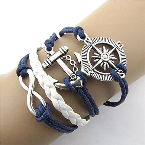 Wrone (TM) in pelle calda Infinity Superiore Amore Anchor Compass fascino braccialetto placcato argento - Argento Placcato Orecchini Di Fascino