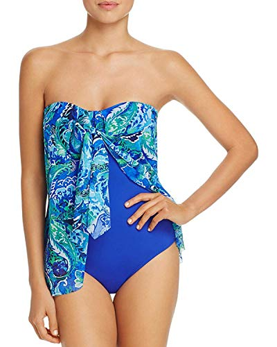 Lauren Ralph Lauren Damen Badeanzug trägerlos Bedruckt Einteiler - Blau - 40 (Frauen Badeanzüge Ralph Lauren)